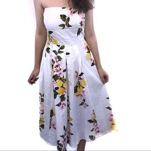 NWOT Eva Mendes White Floral Midi Dress